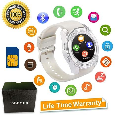 b7e903f6ab056 SEPVER Smartwatch Reloj Inteligente Smart Watch con Cámara Soporte de  Pantalla Táctil Tarjeta SIM Compatible con