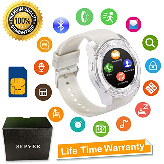 ... Round with Touch Screen Camera SIM Card Slot Sport Fitness Tracker Smartwatch Compatible with Android Phones Samsung Huawei Xiaomi Sony iPhone Women Men ...