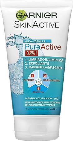 Garnier Skin Active Pure Active Gel 3 en 1 para Pieles Mixtas a Grasas Limpiador, Exfoliante y Mascarilla, 150 ml