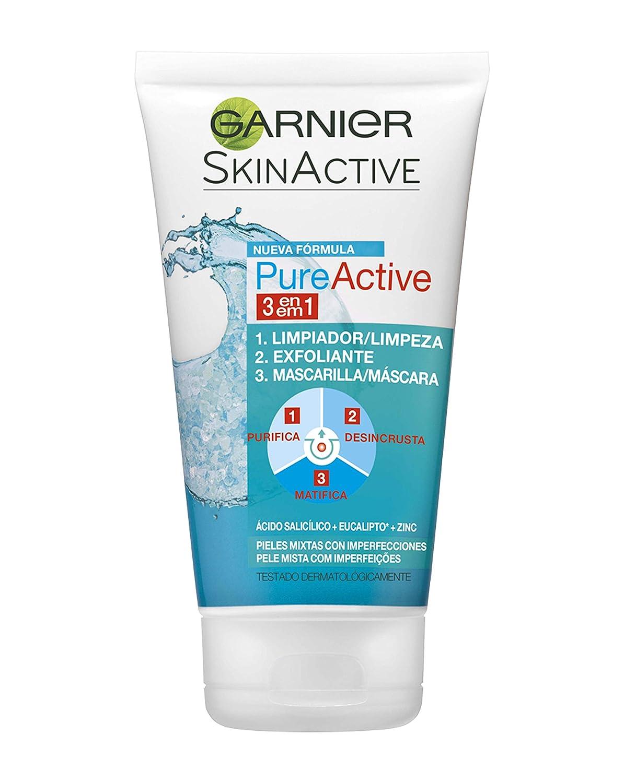 Garnier Skin Active Pure Active Gel 3 en 1 para Pieles Mixtas a Grasas Limpiador, Exfoliante y Mascarilla - 150 ml