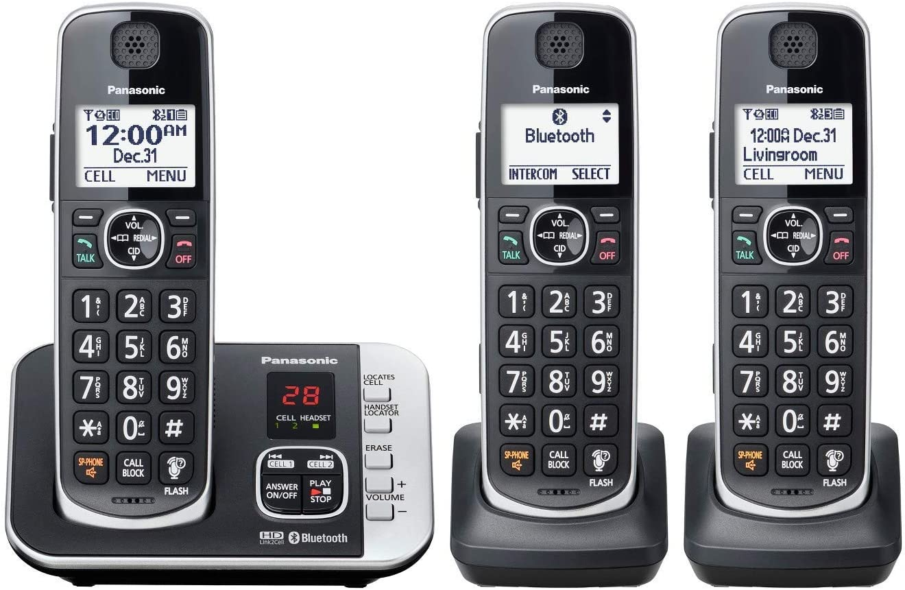 Panasonic KX-TGE663B Cordless Phone with Link to Cell and Digital Answering Machine, 3 Handsets - Black (Renewed)