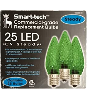 Smart-tech Commercial-grade C9 LED Bulbs - 25 Count (Green)
