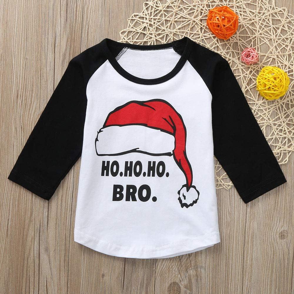 kaiCran Unisex Baby T-Shirt HO HO BRO Letter Christmas Hat Print Long Sleeve Adorable Cute Toddler T-Shirt Tops 1-5 Years