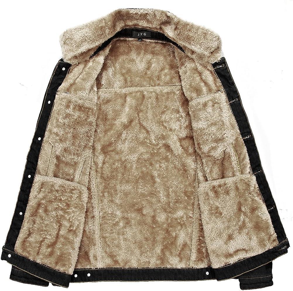 JYG Mens Winter Thicken Sherpa Lined Denim Jacket