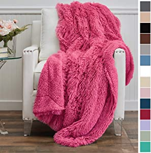 The Connecticut Home Company Shag with Sherpa Reversible Kids Throw Blanket, Super Soft, Large Wrinkle Resistant Blankets, Warm and Hypoallergenic Washable Couch or Bed Throw for Kids, 65x50, Hot Pink