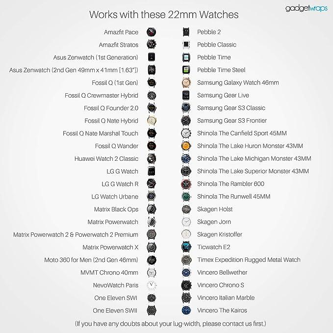 Correa de reloj GadgetWraps de 22 mm de lona, con pines de ...