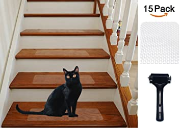 15 Pack(6u0026quot;x 24u0026quot;), Rubberized Clear Adhesive Stair Treads