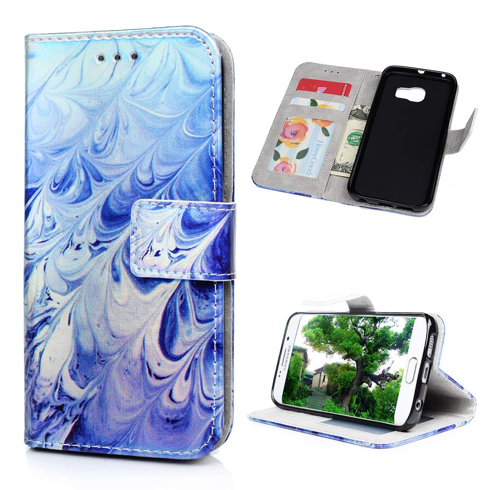 Galaxy S6 Edge Case, Wallet Flip Folio Case Kickstand Card Slots Colorful Painting Shiny PU Leather Wallet Shockproof Soft TPU Rubber Bumper Shell Ultral Slim Wallet Cover for Samsung Galaxy S6 Edge KASOS
