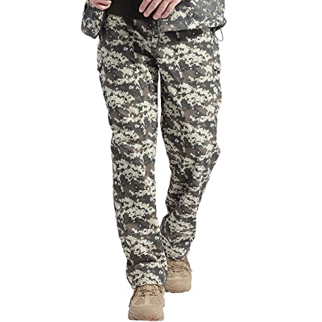 f56ef62c217ed FREE SOLDIER Fleece Lined Pants Men Softshell Trousers Camping Hiking Water  Resistance Pants(ACU Camouflage