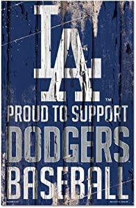 WinCraft MLB Los Angeles Dodgers SignWood Proud to Support Design, Team Color, 11x17