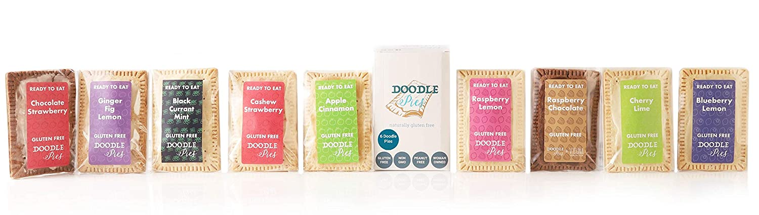 Doodle Pies Gluten Free, Ready to Eat Hand Pies (Pack of 6) (Variety Pack) Breakfast Toaster Pastry, Non-GMO, Hand Pie, Individually Wrapped, On-the-go Snack