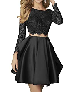 5a9ca00e16d Still Waiting 2 Pieces Lace Homecoming Dresses Short with Long Sleeves  Beaded Prom Party Gowns C038