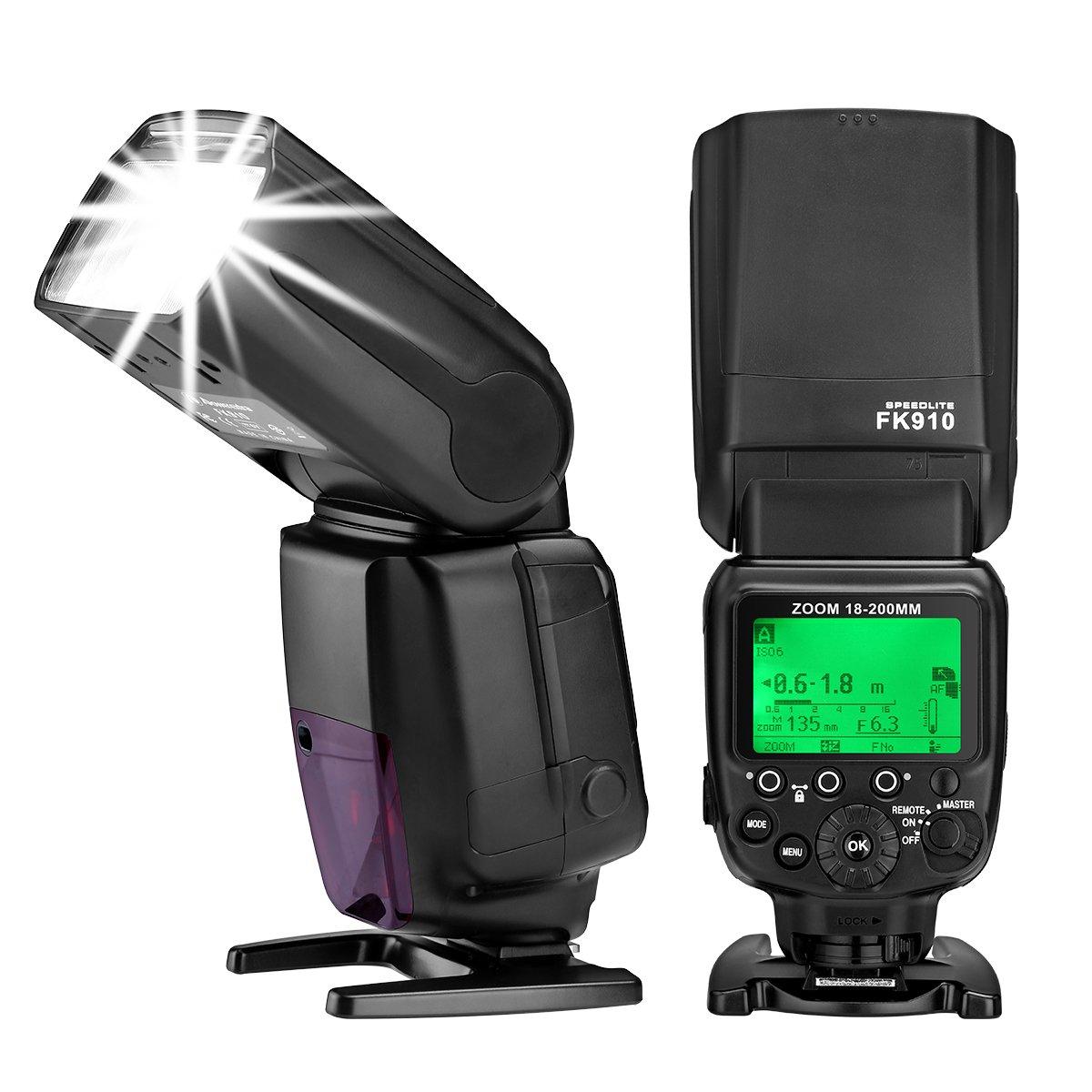 Powerextra i-TTL GN60 HSS 1/8000s Flash Speedlite Master Slave AF Assist Lamp Speedlight for Nikon D70 D50 D80 D3200 D3300 D5300 D500 D800 D600 D300 D750 D60 D7200 & Others Nikon DSLR Cameras