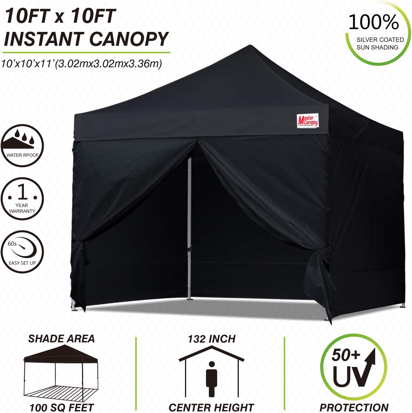 MASTERCANOPY Ez Pop-up Canopy Tent 10x10 Commercial Instant Canopies with 4 Removable Side Walls and Roller Bag 10x10 Feet, White Bonus 4 SandBags