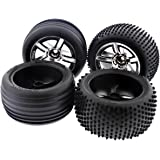 Traxxas Nitro Rustler 2.5 FRONT & REAR ALIAS TIRES & SPOKE CHROME WHEELS 12m