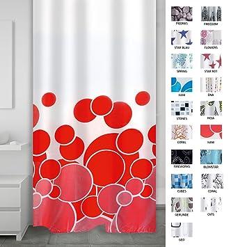 Ridder Kani 403076 Rideau de douche textile Rouge 180 x 200 cm ...