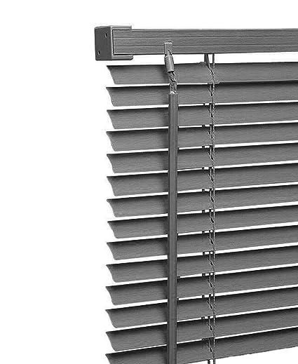 White Easy Fit PVC Venetian Blind Window Blind Multiple Sizes Drop 150cm Black
