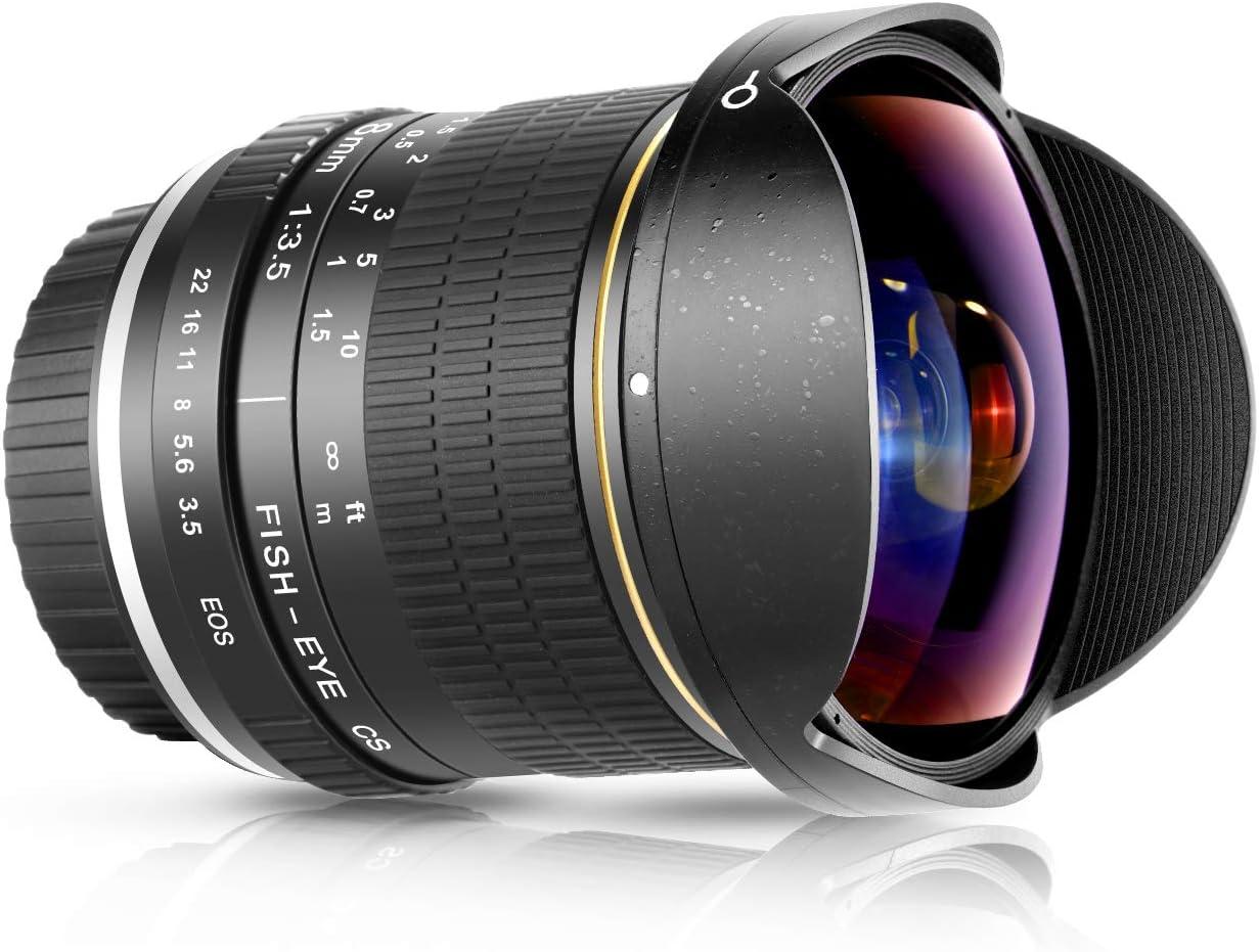 Neewer 8mm F/3.5 Ultra Wide Angle Manual Focus Rectangle Fisheye Lens for APS-C DSLR Canon EOS 77D 80D Rebel T7 T7i T6i T6s T6 SL2 SL3 DSLR Cameras