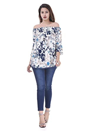 38fa3e67925 FASHION CLOUD Women's Floral Printed Off-Shoulder Top with Bell Sleeves.:  Amazon.in: Clothing & Accessories