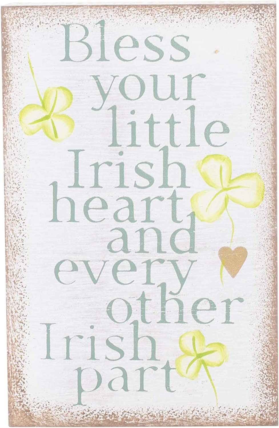 Grasslands Road Bless Your Little Irish Heart Plaque - Irish Plaque - Irish Blessing Plaque - St Patricks Day Decorations - Irish Home Décor, MDF, Metal, 7 by 4 1/2 by 1 1/2 Inches