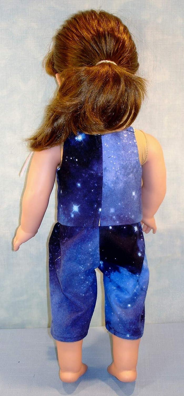 18 Inch Doll Clothes Navy Galaxy Flannel Cami Jami PJs Capris handmade by Jane Ellen