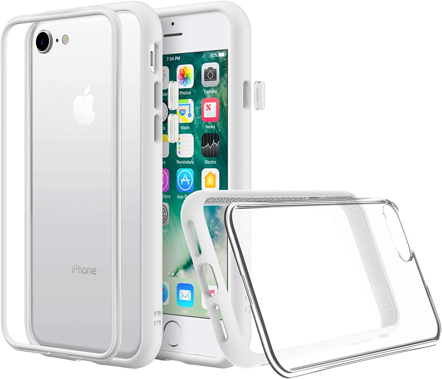 Amazon Com Rhinoshield Modular Case Compatible With Iphone Se2 Se 2020 8 7 Mod Nx Customizable Shock Absorbent Heavy Duty Protective Cover Shockproof White Bumper With Clear Back