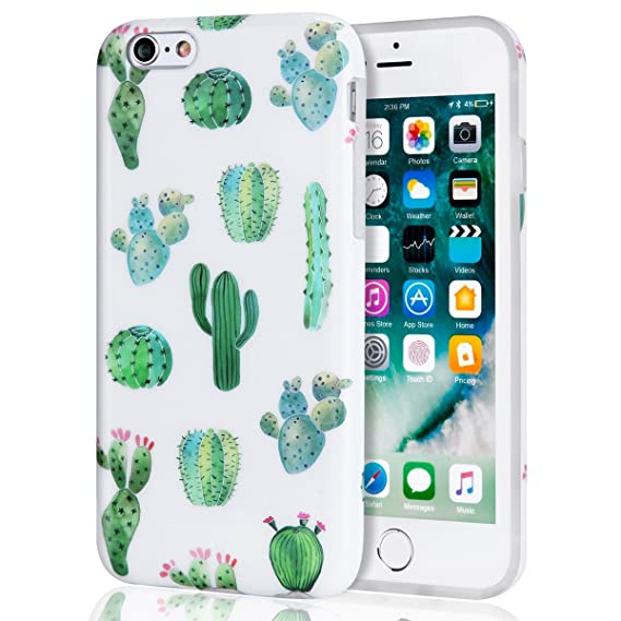 los angeles b824a 7e3a8 iPhone 6s Plus Case, Cactus iPhone 6 Plus Case for Girls, Women Best  Protective Cute Clear Slim Glossy TPU Soft Rubber Silicone White Green  Cover ...