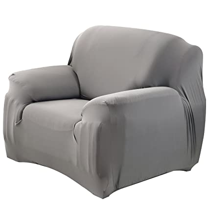 Outstanding Mobo Grey Sofa Cover 1 Piece Slipcover For 35 55 Inches Single Seater Stretch Elastic Couch Cover With Polyester Spandex Fabric Ibusinesslaw Wood Chair Design Ideas Ibusinesslaworg