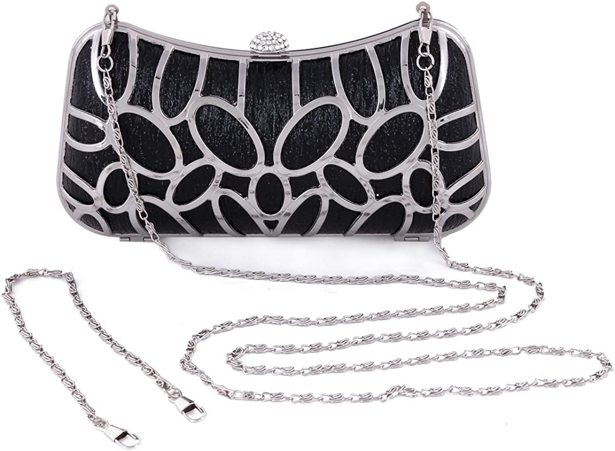 Damara Womens Rhinestone Snap Metal Cutout Clutch Evening Bag