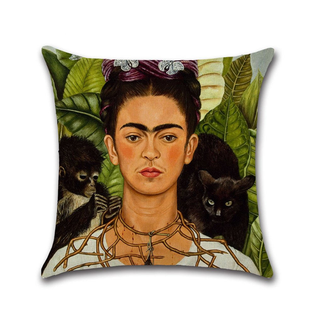 45cm*45cm 1 ThreeCat Decorativa Almohada Lino sof/á coj/ín Funda de coj/ín Almohada Mexicano Pintor Frida Carolina Mujeres Autorretrato Coj/ín Protectora Funda de coj/ín 45/x 45/cm
