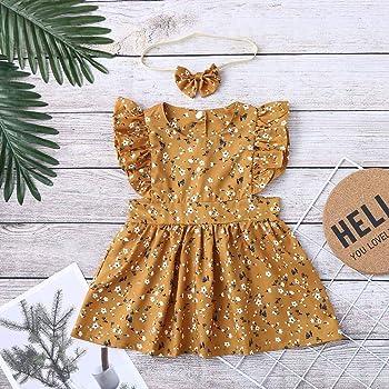 OPAKY Infant Niñas Mono con Estampado Floral Traje de Mameluco + Conjuntos de Trajes de Diadema Sin Mangas Vestido con Estampado Floral + Conjuntos de Trajes de Diadema Vestido de Princesa: Amazon.es: