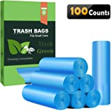 Small Trash Bags 4 Gallon Biodegradable Garbage Bags 100 Counts,Unscented Leak Proof Compostable Bags Wastebasket Liners for Office,Home,Bathroom, Bedroom,Car,Kitchen,Pet(Shiny Blue)