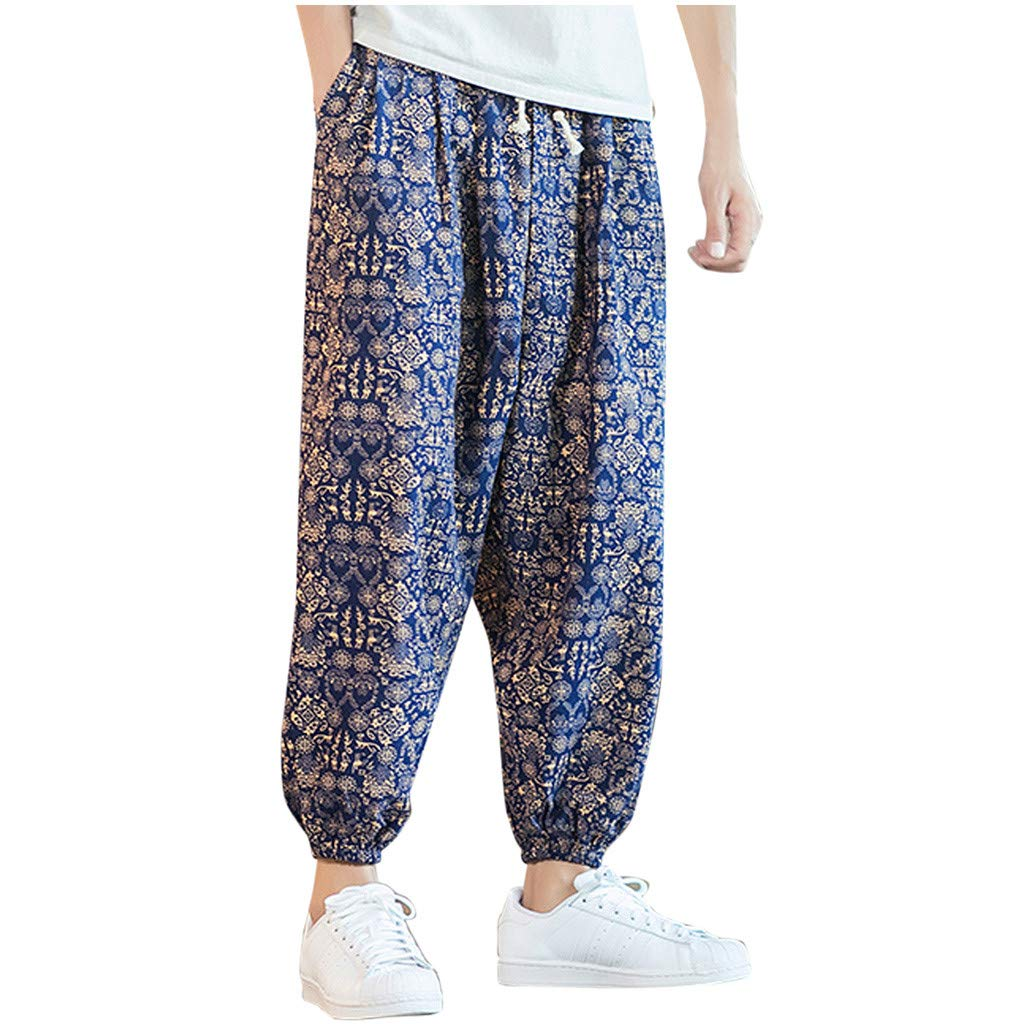 FEDULK Men's Vintage Lantern Pant Plus Size Retro Ethnic Print Cotton Linen Holiday Casual Baggy Trousers(Navy, Medium) by FEDULK