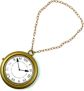Skeleteen Jumbo Gold Clock Necklace - White Rabbit Clock, Hip Hop Rapper Clock - 1 Piece