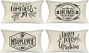 AENEY Christmas Pillow Covers 12x20 Set of 4, Rustic Winter Holiday Throw Pillows Farmhouse Christmas Decor for Home, Xmas Decorations Cushion Cases for Couch A305-12