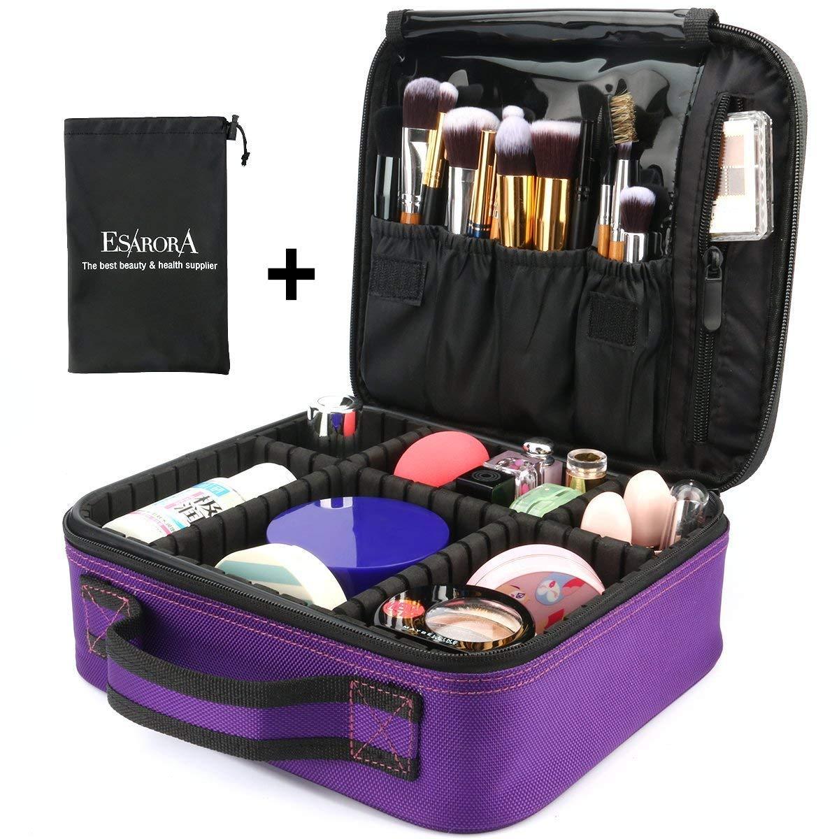 B078LRC2DK Makeup Bag ESARORA Portable Travel Makeup Cosmetic Case Organizer Artist Storage Bag with Adjustable Dividers for Cosmetics Makeup Brushes Toiletry Jewelry Digital Accessories (Purple)