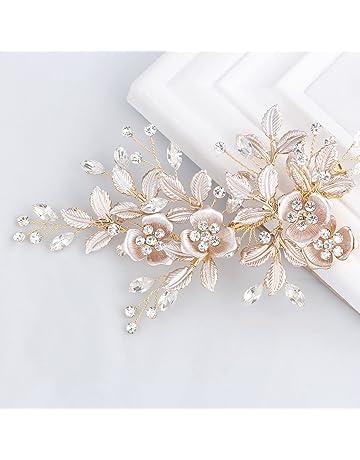 SWEETV Light Rose Gold Wedding Clip Rhinestone Bridal Comb Barrette -  Handmade Flower Clip Head Pieces f13b997e5b97