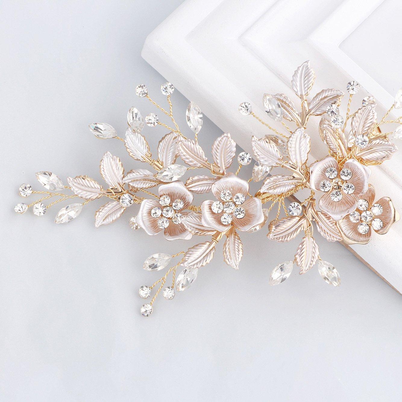 SWEETV Light Rose Gold Wedding Clip Rhinestone Bridal Comb Barrette - Handmade Flower Clip Head Pieces for Women by SWEETV