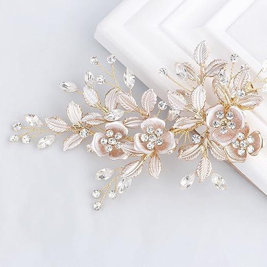 SWEETV Handgefertigt Hochzeit Haarkämme Perle Kristallm Haar Kam Haarnadeln Braut Kopfschmuck, Gold