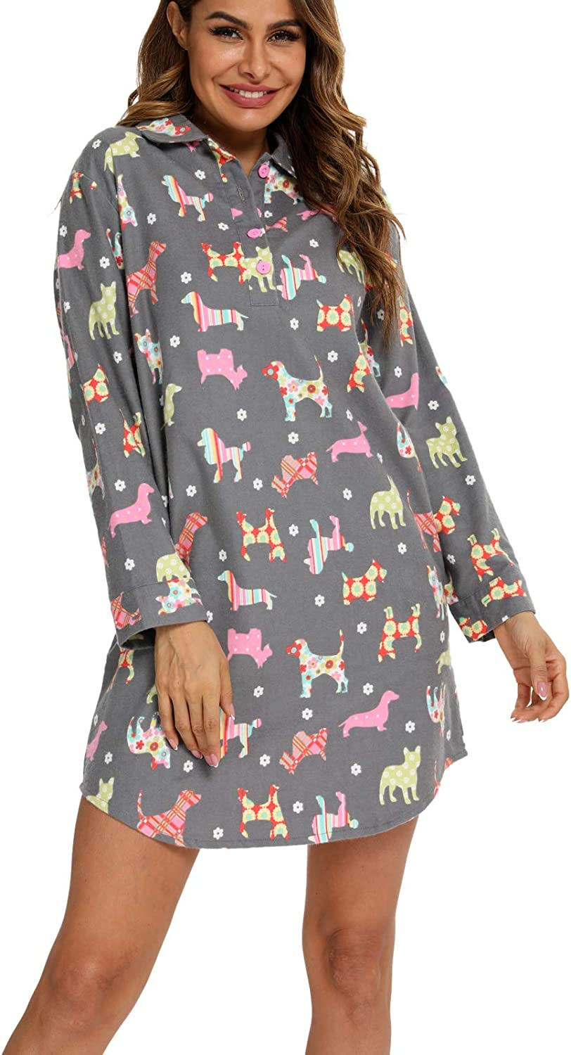 MIA LUCCE Women Flannel Nightgowns Long-Sleeve Sleepshirt with Chest Pocket-100/% Cotton Casual Lounge Sleepwear