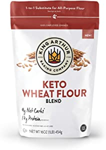 King Arthur, Keto Wheat Flour Blend, Non-GMO Project Verified, 1-to-1 Substitute for All- Purpose Flour, 16 Ounces