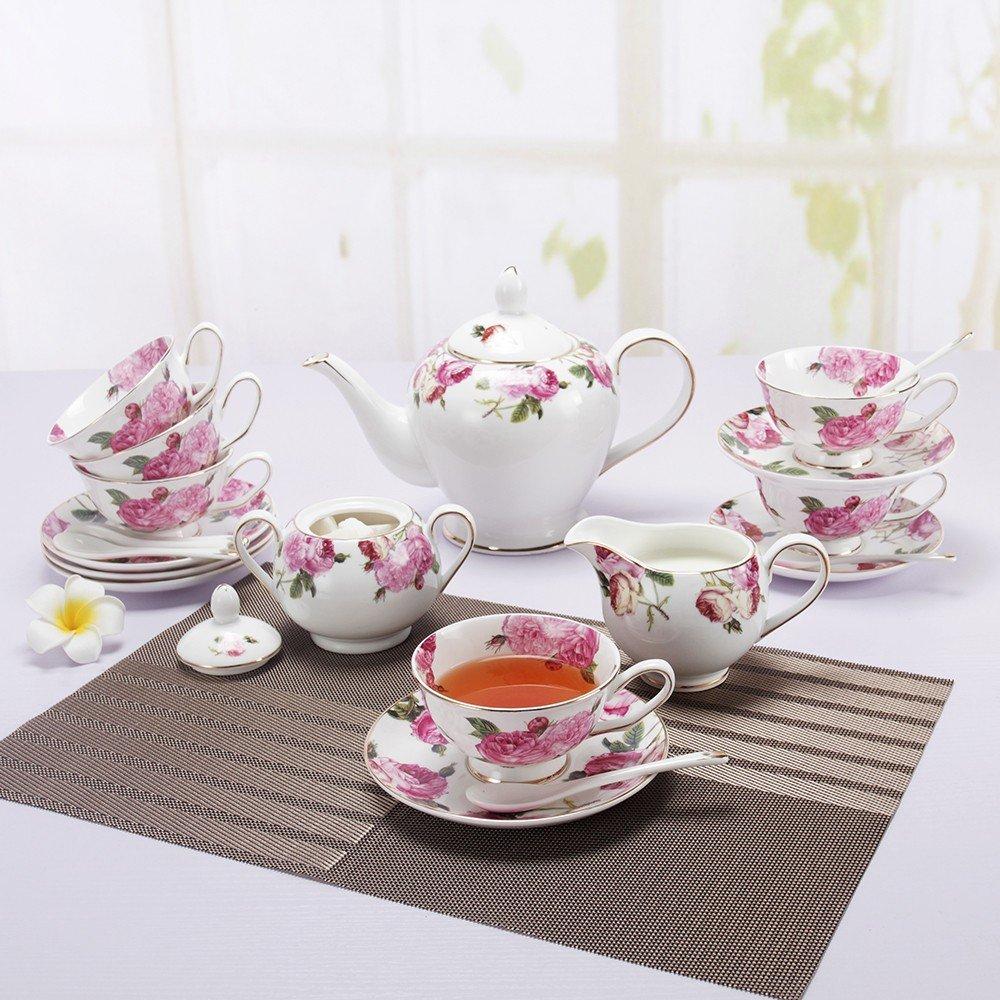 Porlien Tea Set, Rose Camellia, Porcelain Gift Set (6 teacup sets with teapot) by Porlien (Image #3)