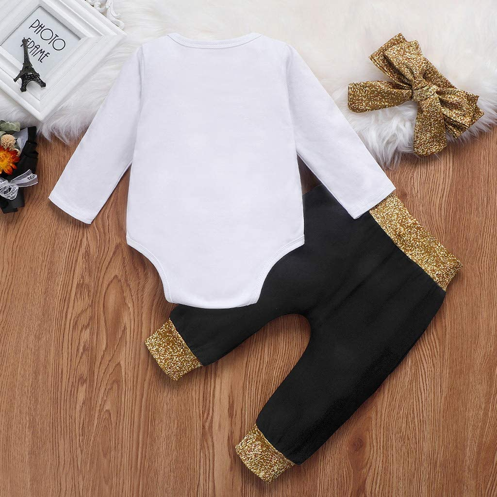 Staron Bodysuit Christmas Infant Baby Girls Boys Happy New Years Romper Long Pants Outfits