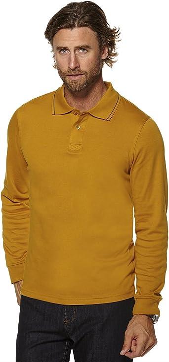 RageIT Hombre Algodón Liso Polo Camiseta Top Manga Larga Jersey Elástico Tops