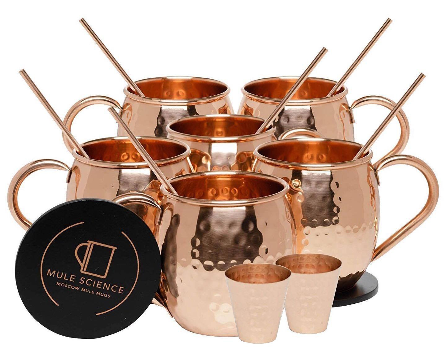 Pure Copper Moscow Mule Mugs (Set of 6) by Mule Science with BONUS: Highest Quality Cocktail Copper 6 Straws, 2 Shot glasses and 6 coasters!