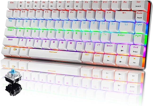 PC Teclado Mecánico para Juegos, LED Mezclado con Retroiluminación USB con Cable de 82 Teclas, Anti-Fantasma, Teclado Ergonómico de Computadora Jugar ...