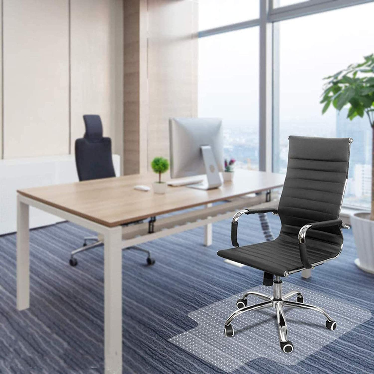 """Kuyal Office Chair Mat for Carpeted Floors, Heavy Duty, Transparent Protects Floors Mats for Low and Medium Pile Carpets 36"""" X 48"""" with Lip, Good for Desks, Office and Home, Clear (with Lip)"""