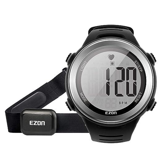 EZON HRM Tech Pecho Correa Reloj Digital Monitor de Ritmo cardíaco Reloj con Alarma carillón Cada Hora cronómetro, Pantalla Grande para Hombres Negro t007 ...