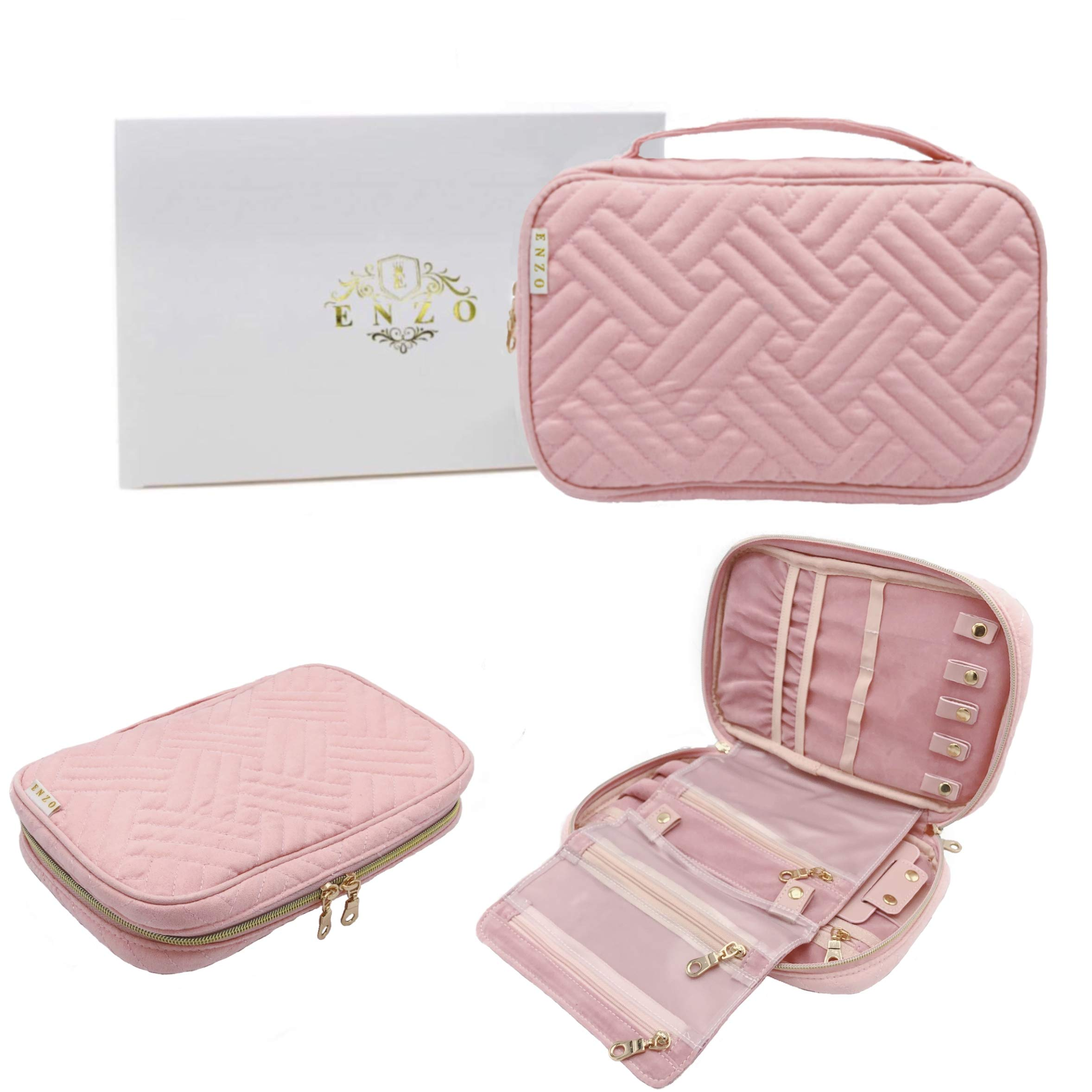 ENZO Travel Jewelry Organizer Storage Case | Organizer Bag | Box for Necklace, Earring, Ring, Bracelet, Watch and More | Portable Compact Accessories Storage Holder (Pink) by Enzo International