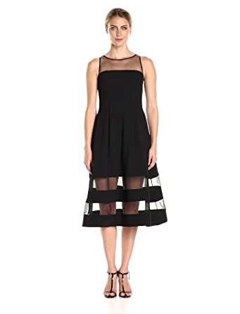 d3ecb0c5f0d Aidan by Aidan Mattox Women s Crepe and Illusion Mesh Cocktail Dress ...